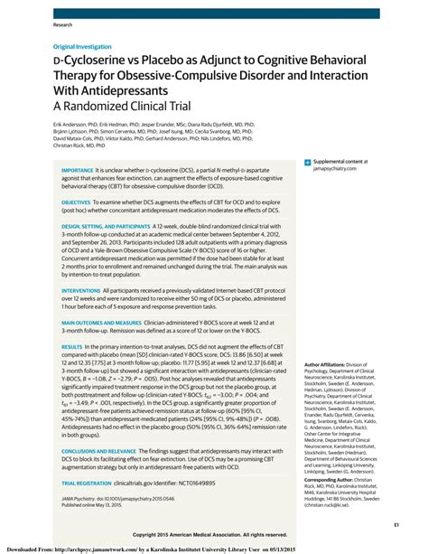 Pdf D Cycloserine Vs Placebo As Adjunct To Cognitive