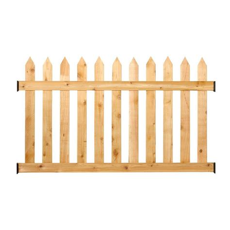 picket fence sections home depot outdoor essentials 3 1 2 ft h x 6 ft w cedar spaced