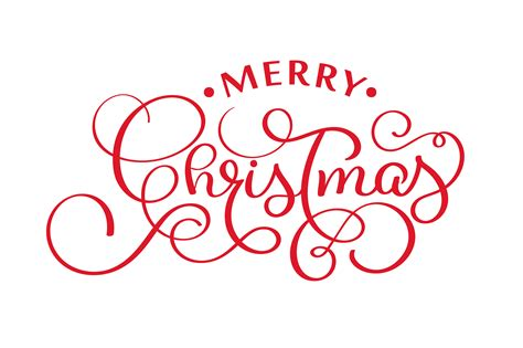 merry christmas red handwritten lettering inscription xmas holiday phrase typography banner