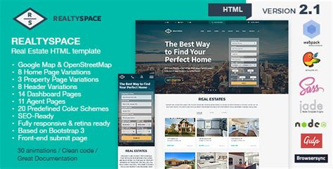 Realtyspace V2 1 2 Real Estate Html5 Template Dashboard Included Site Templates Real Estate Dashboard Templates