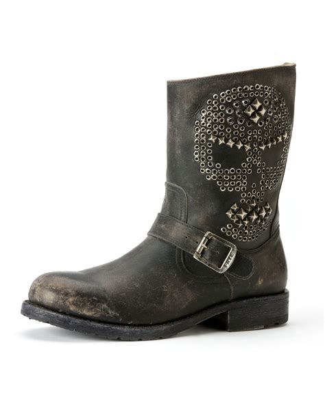 frye studded boots frye rogan skull studded engineer boot black in black lyst
