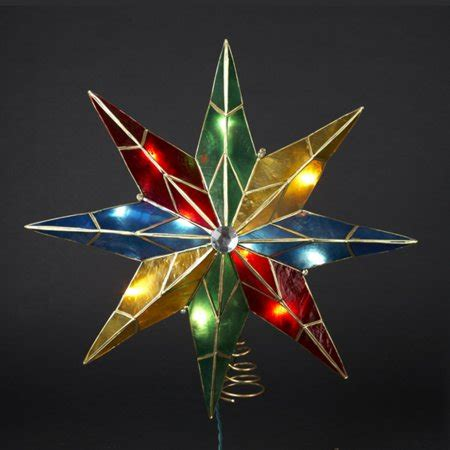 five star lighted tree top 15 quot lighted capiz poinsettia tree topper clear lights walmart