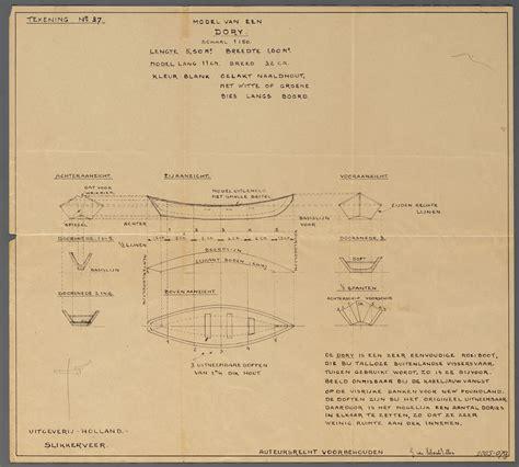 roeiboot modelbouw scheepsbouwtekening van een roeiboot type dory