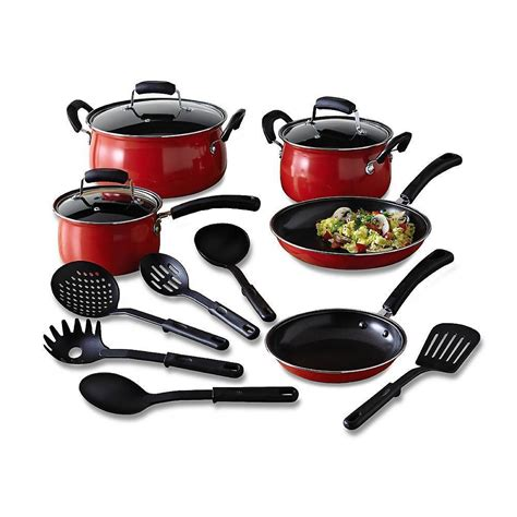 home pans essential home 14 piece red cookware set kitchen nonstick