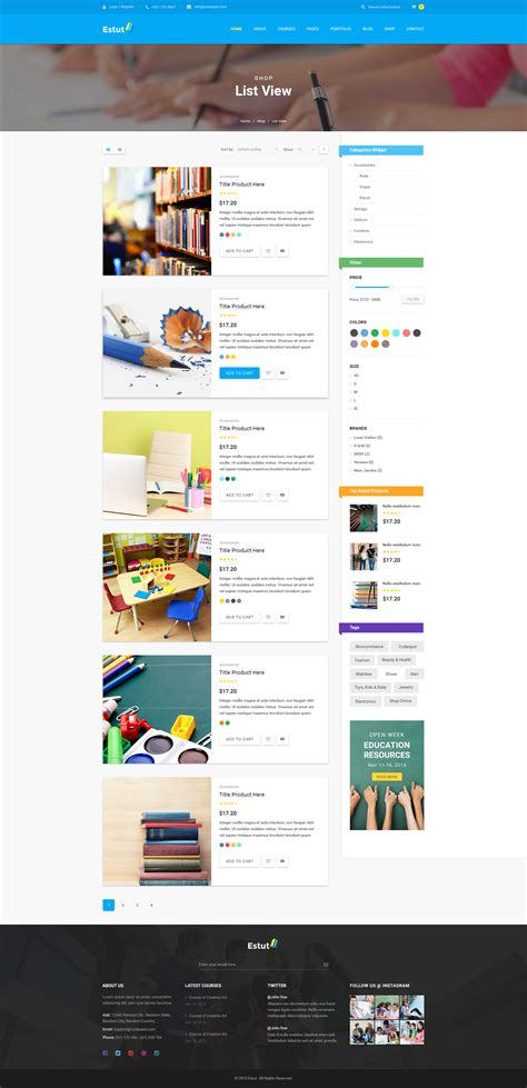 wordpress theme listview estut education wordpress theme material design