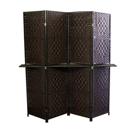 ore international 5 9 ft espresso 4 panel room divider