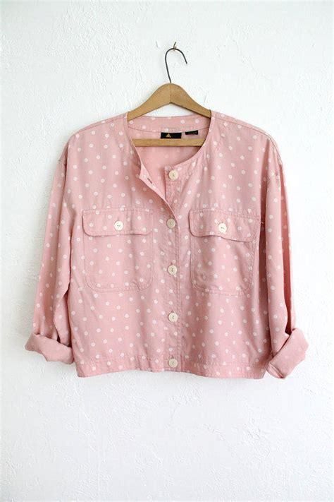 light pink button up shirt vintage 80s light pink sweet polka dot from vauxvintage on