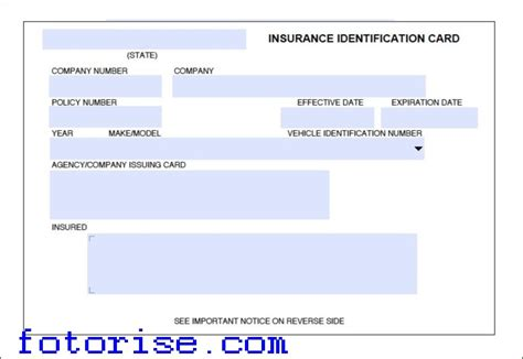 Blank Insurance Card Template Fotorise Com State Farm Insurance Card Template