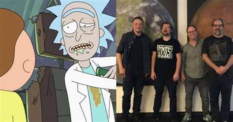 elon musk rick and morty twitter elon musk and rick and morty creators met irl at the