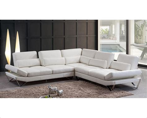 White Leather Sectional Sofas Modern Snow White Leather Sectional Sofa 44l5985