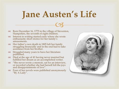 biography jane austen short jane austen