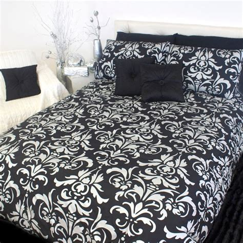 Black And White Damask Quilt by Damask Silver Black White Blue King Quilt Doona