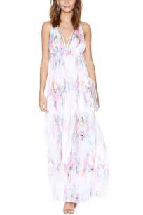 White watercolor inspired crisscross back maxi dress casual dresses