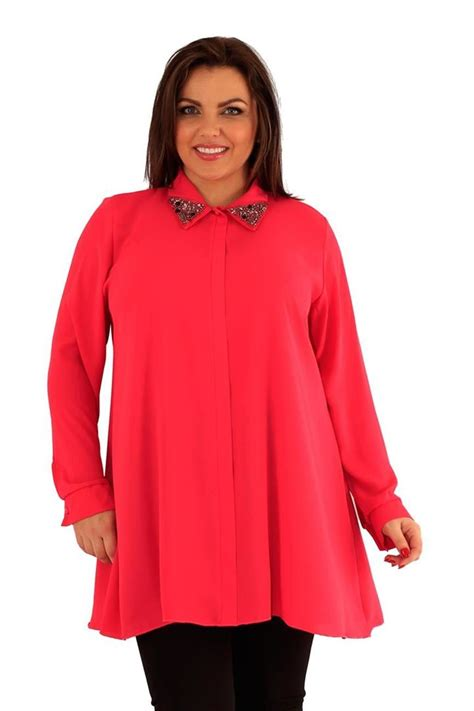 Womens Plus Size Embellished Collar Shirt Long Sleeve