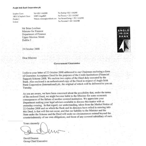 Bank Warranty Letter Anglo Worried That The Bank Guarantee Could Make It Liable If Other Banks Failed