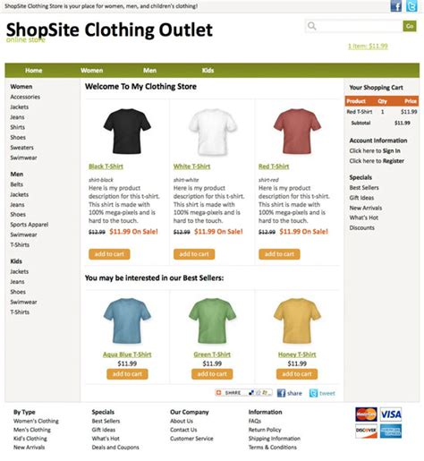 shopsite built in standard template