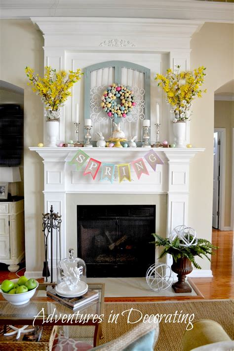 adventures  decorating styling  spring mantel