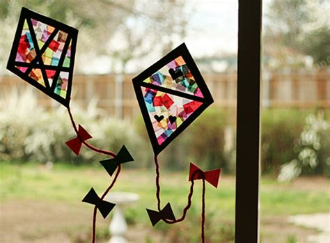 Stained Glass Paper Craft - colorful stained glass kites window display make and takes