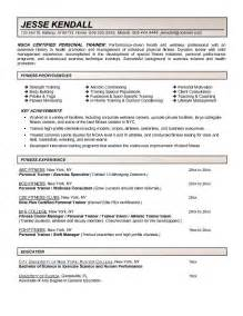 fitness trainer resume template fitness and personal trainer resume exle