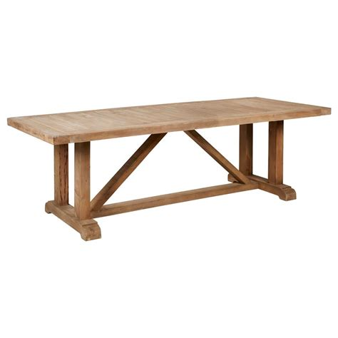 Pine Wood Dining Table Treteau Country Slatted Pine Wood Trestle Dining Table Kathy Kuo Home
