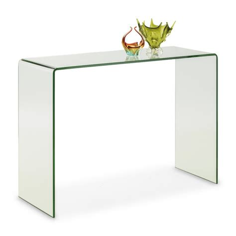 clear glass console table large curved clear bent glass console table