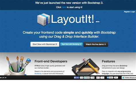 layoutit interface builder for bootstrap top css generators for developers and designers