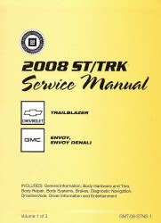 small engine service manuals 2003 gmc envoy electronic valve timing 2008 chevrolet trailblazer and gmc envoy factory service manual 3 volume set