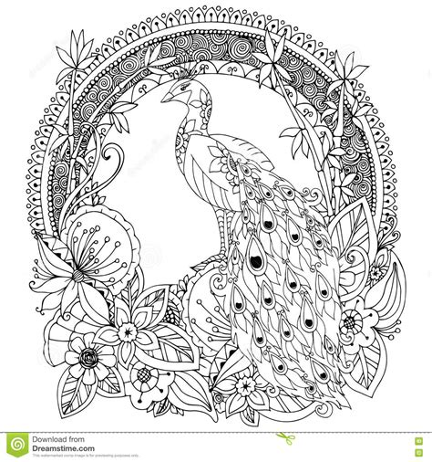 anti stress colouring book doodle and vector illustration zen tangle peacock and flowers stock