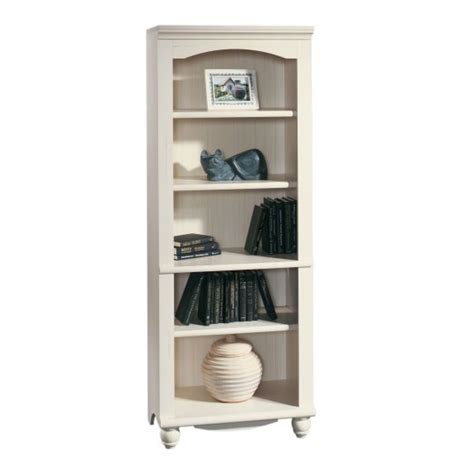sauder harbor view antiqued white bookcase 158085