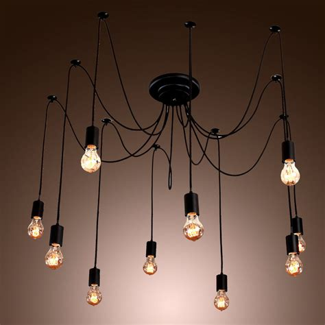 Hanging Bulb Chandelier Edison Style 10 Lights Bulb Chandelier Ceiling Light Pendant L Fixture Ebay