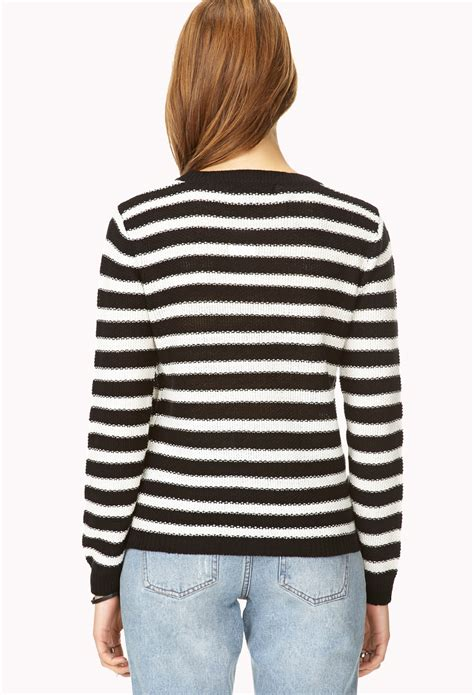 Sweater Black Miky forever 21 laid back striped sweater in white lyst
