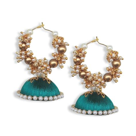 Handmade Threads - silk thread bali jhumkas peacock green buy handmade silk