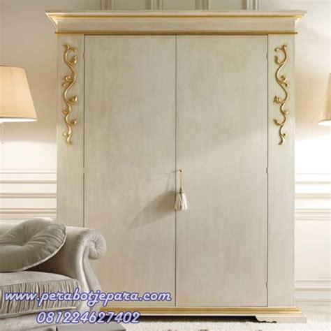 jual model lemari pakaian minimalis putih gold klasik