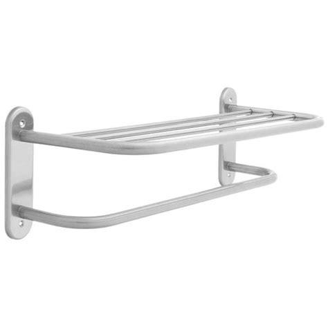 Wall Mounted Towel Rack Shelf by Wall Mounted 5 Rail Satin Steel Dual Towel Shelf Bathroom