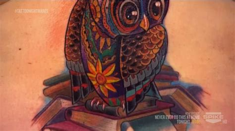 tattoo nightmares pics bottom of the owl done by tommy on tattoo nightmares