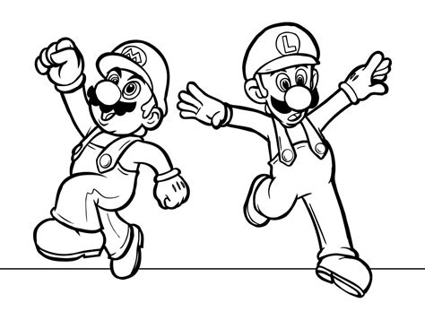 mario and luigi coloring pages funycoloring