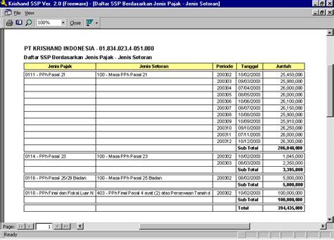 cara membuat laporan faktur pajak krishand ssp contoh laporan daftar ssp berdasarkan jenis