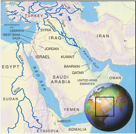 middle east map with rivers water