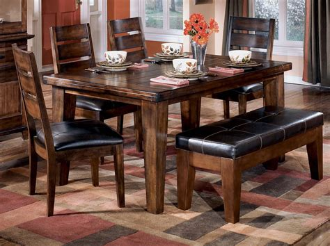 Bench Dining Room Set Antique Pub Style Dining Sets With Varnish Dining Table And 4 Wooden Dining Chairs With