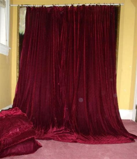 Burgundy Velvet Curtains Vintage Bohemian Wine Burgundy Velvet Drapes Curtains Lot 6 Ebay