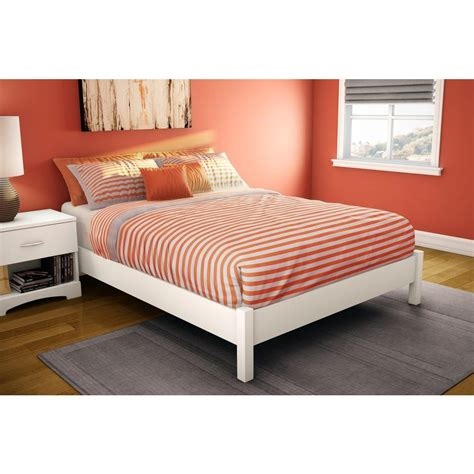 full size white platform bed south shore step one full size platform bed in pure white