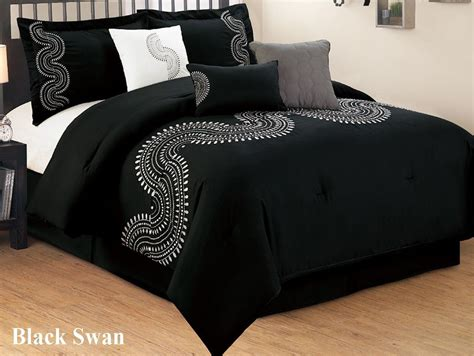 black cal king comforter 7 pc black and white embroidered comforter set king