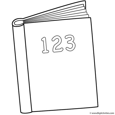 123 Book Coloring Page Back To School Book Colouring Page
