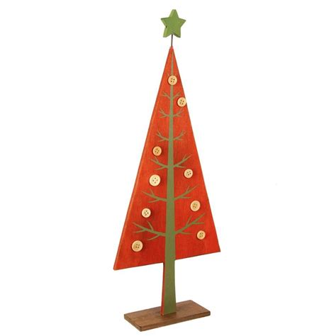 red wooden tabletop christmas tree by the christmas home