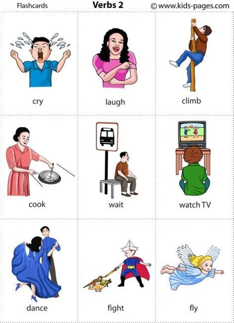 printable pictures verbs kids pages flashcards verbs 2 speech and language