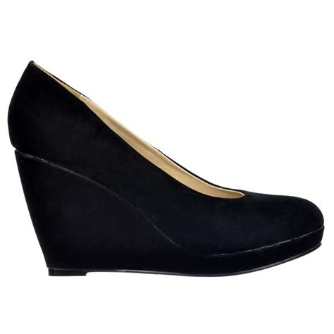 black wedge shoes shoekandi mid low heel wedge court shoes black suede