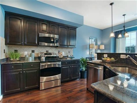 kitchens with blue walls my fantasy home blue accent kitchen idea 1 bright blue wall dark cabinet weathered