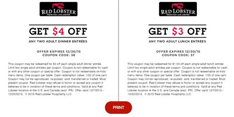 Lobster Coupons Printable 2017