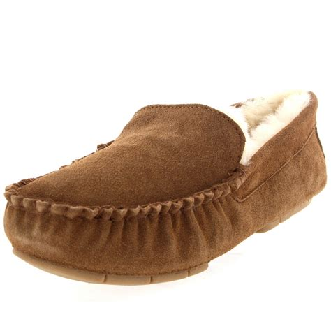 in slippers mens genuine australian fur sheepskin fur lined suede