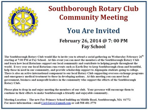 Invitation Letter For Community Meeting Come Meet The Rotary Club February 26